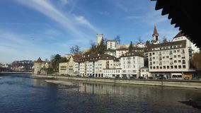 Switzerland, 08.12.2016: the skyline of the medieval city of Lucerne with views of the famous Spreuerbrücke, stock video
