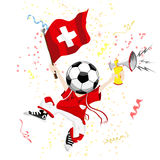 Switzerland Soccer Fan with Ball Stock Photos