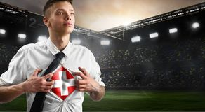 Switzerland soccer or football supporter showing flag stock photo