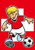 Switzerland soccer player with flag background Stock Photo