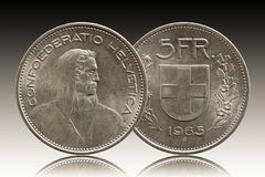 Switzerland Swiss coin 5 five franc 1965 silver isolated on gradient background stock image