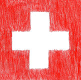 Switzerland swiss flag, pencil drawing illustration kid style ph Royalty Free Stock Photo