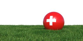 Switzerland Swiss flag soccer ball lying in grass world cup 2018. Isolated on white background. 3D Rendering, Illustration Stock Photos