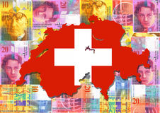 Switzerland with Swiss francs. Map and flag of Switzerland with collage of colourful Swiss francs illustration Stock Photos