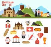 Switzerland symbols set. With flat icons of food money and people  vector illustration Stock Photo