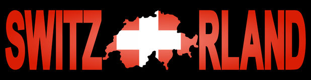 Switzerland text with map Stock Images
