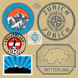 Switzerland travel or adventure theme stamps or labels set Royalty Free Stock Photo