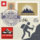 Switzerland travel or adventure theme stamps or labels set Stock Photo