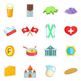 Switzerland travel icons set, cartoon style Stock Photos