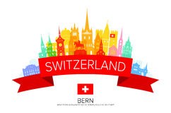 Switzerland Travel Landmarks. Vector and Illustration Royalty Free Stock Images