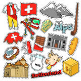 Switzerland Travel Scrapbook Stickers, Patches, Badges for Prints with Alps, Money and Swiss Elements Stock Image