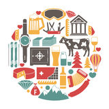 Switzerland travel sightseeing icons and vector Swiss landmarks poster Stock Photo