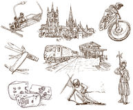 Switzerland. Traveling series: Switzerland (no.2) - Collection of an hand drawn illustrations. Description: Full sized hand drawn illustrations drawing on white royalty free illustration