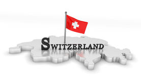Switzerland Tribute. 3D rendered scene with flag and logo Royalty Free Stock Photos