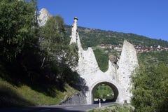 Switzerland, Valais, Eusegne, the Pyramides. Switzerland, Valais, Eusegne, the natural Pyramides and road tunnel royalty free stock photos