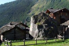Switzerland, Valais, Evolene village. Switzerland, Valais, Evolene village, house and stone stock photography