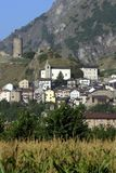 Switzerland, Valais, Saillon city. The agriculture and old tower on the hill royalty free stock photos