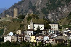 Switzerland, Valais, Saillon city. And old tower royalty free stock image