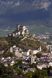 Switzerland, Valais, Sion city. The Valère basilic on the top of the village royalty free stock image
