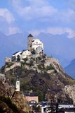 Switzerland, Valais, Sion village. Switzerland, Valais, Sion village, Valere church on the hill royalty free stock image