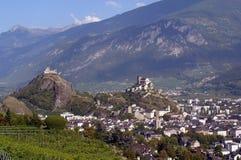 Switzerland, Valais, Sion village. Switzerland, Valais, Sion village, view of the city stock photo