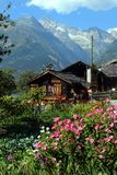 Switzerland, Valais, Visp village, house and flowers. stock photography