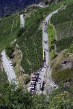 Switzerland, Valais, Visp village, house and flowers. Switzerland, Valais, Visp village, walk on the vineyard stock image