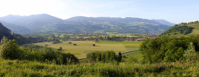 Switzerland valley. In a wide picture to show all the stuffs Royalty Free Stock Photography