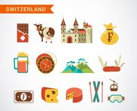Switzerland -  vector icons set Royalty Free Stock Images