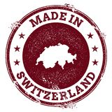 Switzerland vector seal. Vintage country map stamp. Grunge rubber stamp with Made in Switzerland text and map, vector illustration Stock Photography