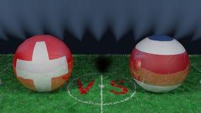 Switzerland  versus Costa Rica. 2018 FIFA World Cup.Original 3D image. June 27, Switzerland vs Costa Rica 2018 FIFA World Cup.Original 3D image. Two balloons Stock Image