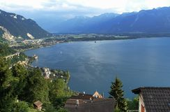 Switzerland: The view from Glion above Montreux city and lake Geneva to the canton Wallis stock photo
