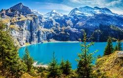 Switzerland view of lake Oeschinen, Oeschinensee, in Kandersteg Royalty Free Stock Image
