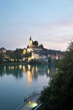 Switzerland, View of river rhine with city at Royalty Free Stock Images