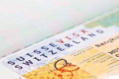 Switzerland VISA on passport stock photos