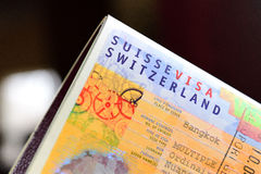 Switzerland visa. You need  a visa to travel or business to Switzerland. Depending on your nationality Stock Image
