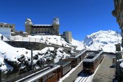 Switzerland - Wallis. Railroad from Taesch to Zermatt. It`s bad weather. Yet the region is wonderful royalty free stock image