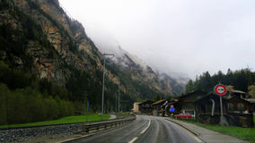 Switzerland - Wallis. Railroad from Taesch to Zermatt. It`s bad weather. Yet the region is wonderful stock photography