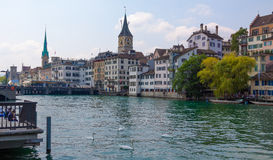 Switzerland. Zurich. The Limmat River. The summer of 2015 Stock Photos