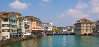 Switzerland. Zurich. The Limmat River. The summer of 2015 Royalty Free Stock Image