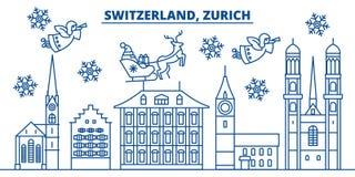 Switzerland, Zurich winter city skyline. Merry Christmas,  Royalty Free Stock Image