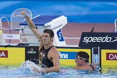 SWM: Πρωτάθλημα παγκόσμιου Aquatics - τελικό πεταλούδων των ατόμων 100m Στοκ Εικόνες