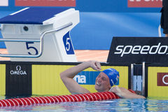 SWM: Πρωτάθλημα παγκόσμιου Aquatics - τελικό ύπτιου των γυναικών 100m στοκ εικόνα με δικαίωμα ελεύθερης χρήσης