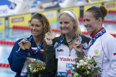 SWM: Πρωτάθλημα παγκόσμιου Aquatics - τελικό ύπτιου των γυναικών 200m Στοκ Φωτογραφίες