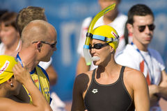 SWM :世界水上冠军-半妇女100m蝴蝶fi 库存图片