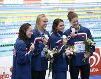 SWM :世界水上冠军-妇女的4 x 200m自由式fi 免版税图库摄影