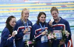 SWM :世界水上冠军-妇女的4 x 200m自由式fi 库存照片