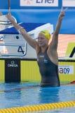 SWM :世界水上冠军-妇女100m蝴蝶决赛 库存图片