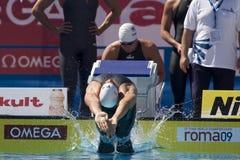 SWM :世界水上冠军-精神4 x 100m混杂的人群 库存图片