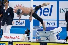 SWM: Campeonato de los Aquatics del mundo - de los 200m de la mariposa fina para hombre semi Foto de archivo